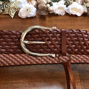 Michael Kors Braided Brown Belt with MK Accessory